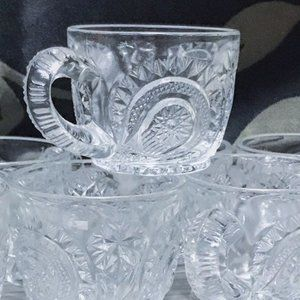 VTG Pinwheel & Stars Punch Cups by SMITH GLASS
